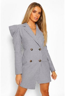 Woven Dogtooth Puff Sleeve Blazer Dress, Black noir