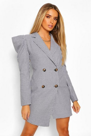 Black Woven Dogtooth Puff Sleeve Blazer Dress