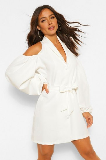 White Cut Out Detail Blazer Dress
