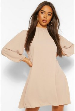 Stone beige Sheered Neck Balloon Sleeve Smock Dress