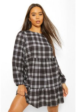 Black Long Sleeve Check Smock Dress