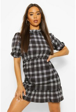 Black Frill High Neck Check Smock Dress