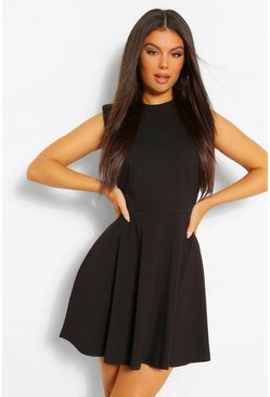 Black Shoulder Pad Skater Dress