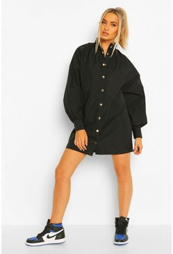 Black Gold Popper Batwing Shift Dress