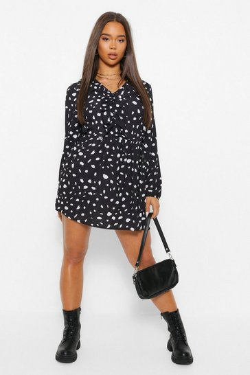 Black Polka Dot Ruffle Detail Smock Dress