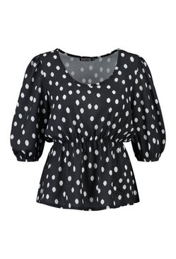 Black Woven Polka Dot Puff Sleeve Smock Top