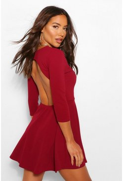 Wine red Backless Crop Sleeve Skater Dress