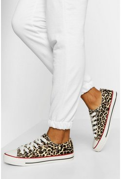 Leopard Print Lace Up Canvas Sneakers