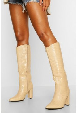 Beige Croc Block Heel Knee High Boots