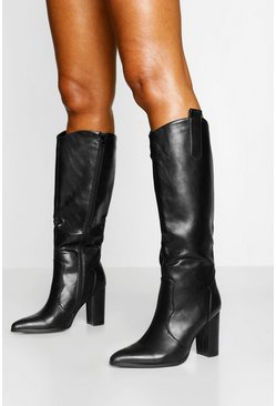 Black Pointed Toe Block Heel Knee High Boots