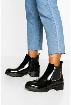 Black Snake Panel Chunky Chelsea Boots