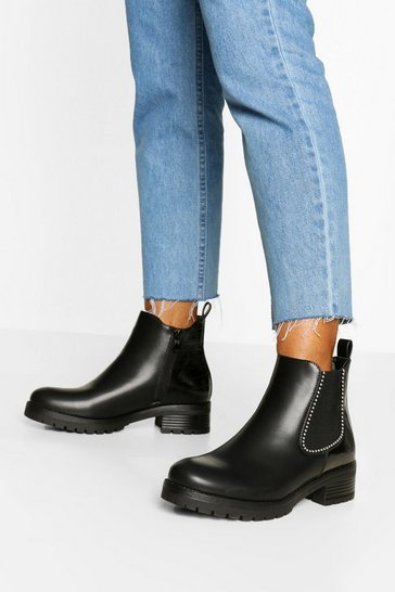 Black Croc Panel Chunky Chelsea Boots