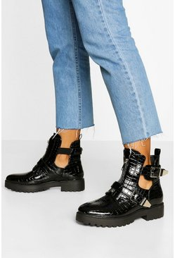 Black Croc Buckle Detail Cut Work Biker Boots