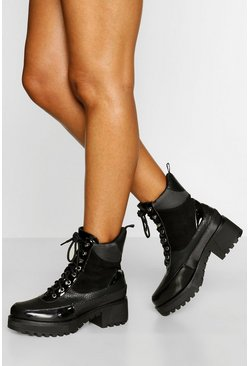 Black Mixed Material Chunky Hiker Boots