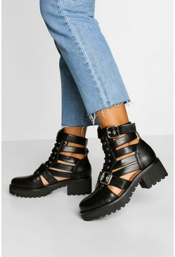 Black Cut Work Buckle Detail Biker Boots