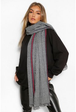 Brown Herritage Check Fringe Edge Scarf