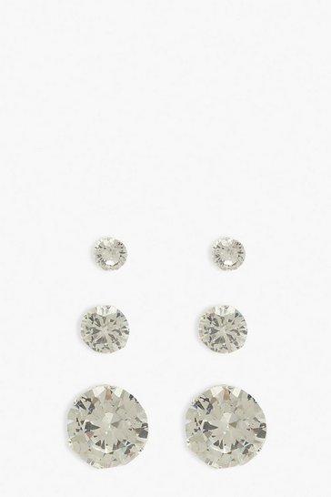 Silver 3 Pack Diamante Stud Earrings