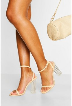 Nude Clear Heel Skinny Strap Two Parts