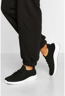 Black Knitted Sports Trainers