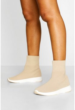 Beige Knitted Sock Trainers