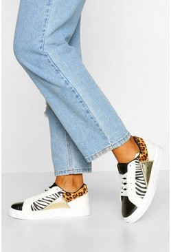 White Mixed Animal Print Flat Trainers