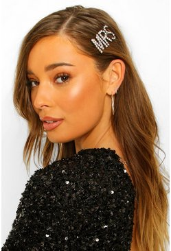Silver Mrs Diamante Hair Clip