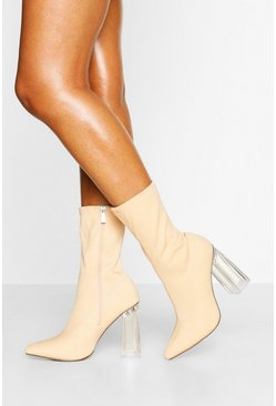 Nude Clear Block Heel Pointed Toe Sock Boots