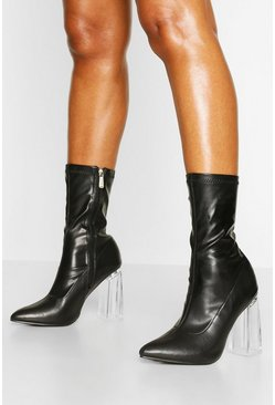 Black Clear Block Heel Pointed Toe Sock Boots