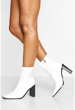 White Square Toe Block Heel Sock Boots
