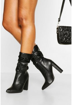 Black Slouched Block Heel Calf High Boots