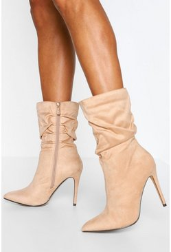 Beige Slouched Stiletto Heel Sock Boots