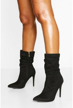 Slouched Stiletto Heel Sock Boots, Black nero