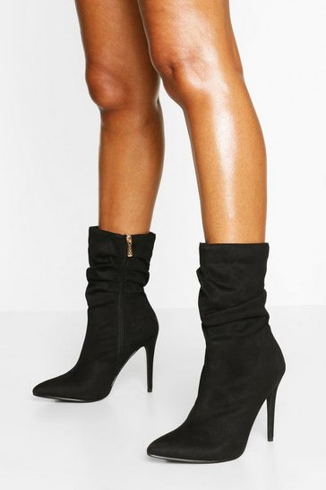 Black Slouched Stiletto Heel Sock Boots