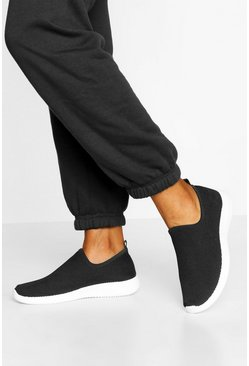 Black Basic Knitted Sock Trainers