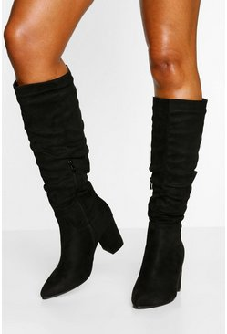 Black Slouched Block Heel Knee High Boots
