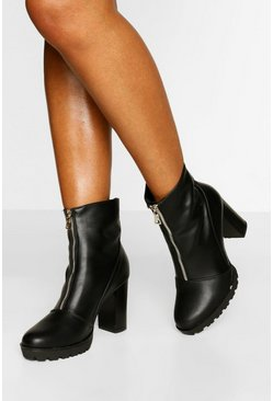 Black Zip Front Block Heel Biker Boot