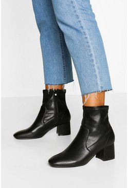 Black Low Block Heel Sock Boots