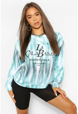 Mint green American Slogan Tie Dye Sweat
