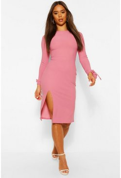 Raspberry pink Crepe Tie Sleeve Midi Dress