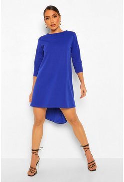 Cobalt blue Crop Sleeve Dip Hem Shift Dress