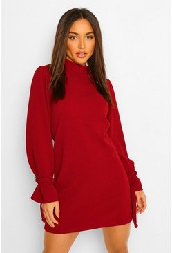 Long Tie Sleeve Shift Dress, Berry rouge
