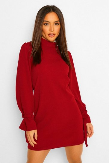 Berry red Long Tie Sleeve Shift Dress