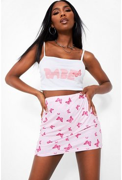 Pink 'Babe' Slogan Top And Butterfly Print Skirt Two-Piece