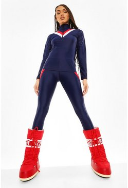 Navy Colour Block Under Layer Ski Legging