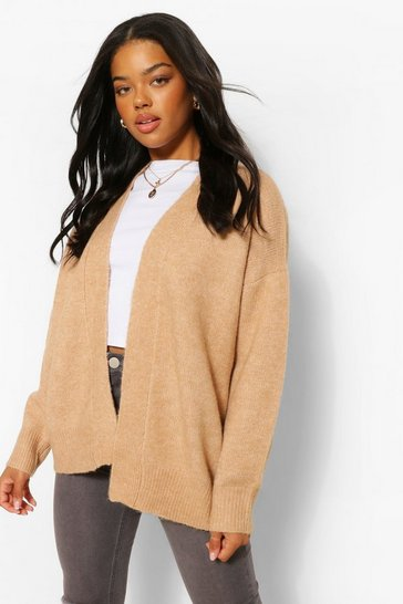 Camel beige Soft Knit Edge To Edge Cardigan