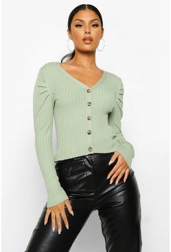 Sage green Puff Sleeve Rib Knit Cardigan