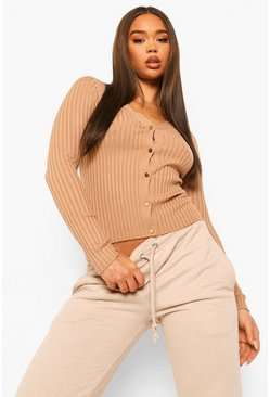 Biscuit beige Rib Knit Crop Cardigan