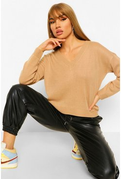 Camel beige V Neck Crop Jumper
