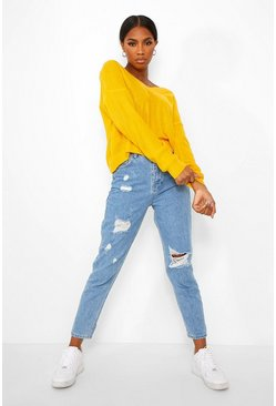 Yellow V Neck Crop Jumper