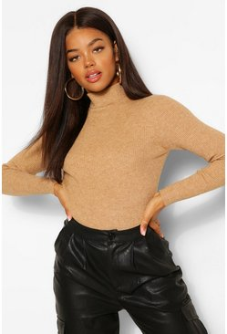 Camel Rib Knit Jumper